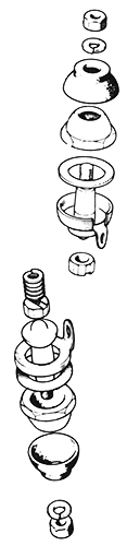 Exploded diagram front hub ball joints