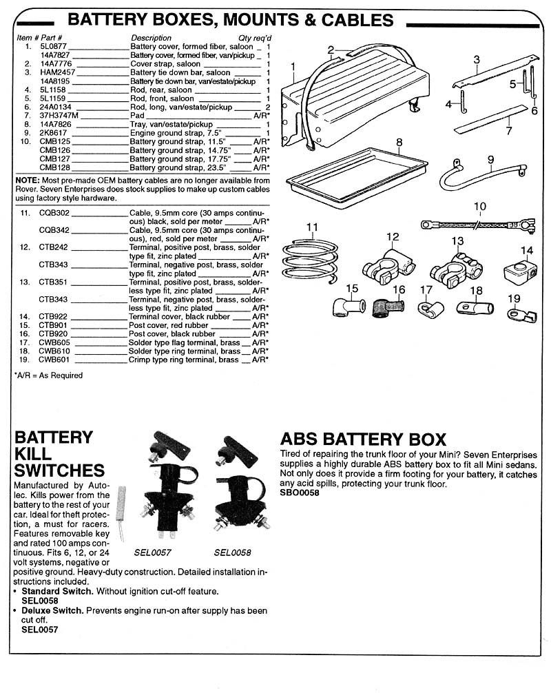 battery boxes  mounts  u0026 cables